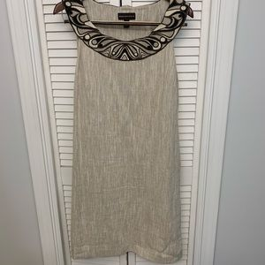 Dana Buchman Embroidered Neckline Dress
